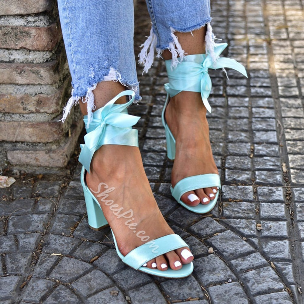 Pre-sale Trendy Chunky Heel Lace-Up Open Toe Plain Sandals