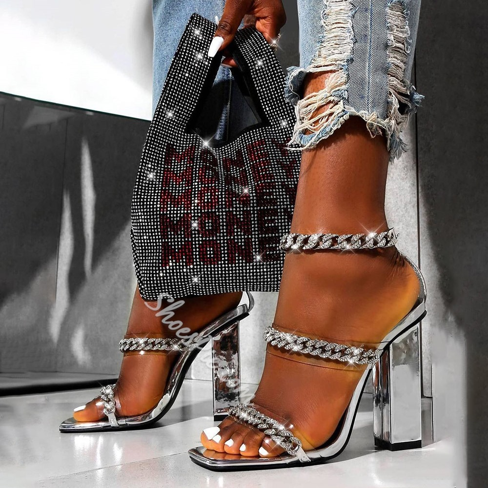 Pre-sale Sexy Open Toe Chunky Heel Line-Style Buckle Banquet Sandals