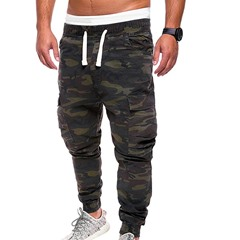 Straight Print Camouflage Lace-Up Fall Casual Pants
