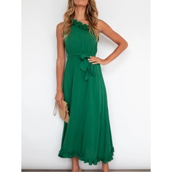 Sleeveless Lace-Up Ankle-Length A-Line Women's Dress
