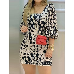 Patchwork Above Knee Three-Quarter Sleeve Pullover Women's Dress