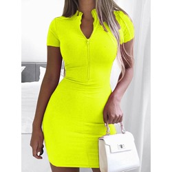 Short Sleeve Stand Collar Above Knee Bodycon Women's Dress