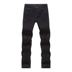 Hole Straight Gradient Zipper Mid Waist Jeans