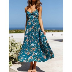 V-Neck Sleeveless Print A-Line Women's Dress