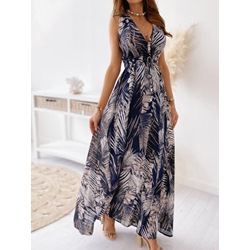 Print Floor-Length Sleeveless A-Line Women's Dress
