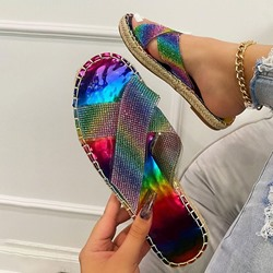 Shoespie Trendy Rhinestone Toe Ring Flat With Summer Slippers
