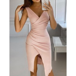 V-Neck Asymmetric Mid-Calf Bodycon Women's Dress