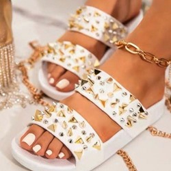 Shoespie Stylish Rivet Toe Ring Flat With Plain Slippers