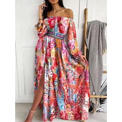 Off Shoulder Floor-Length Patchwork Pullover Women's Dress