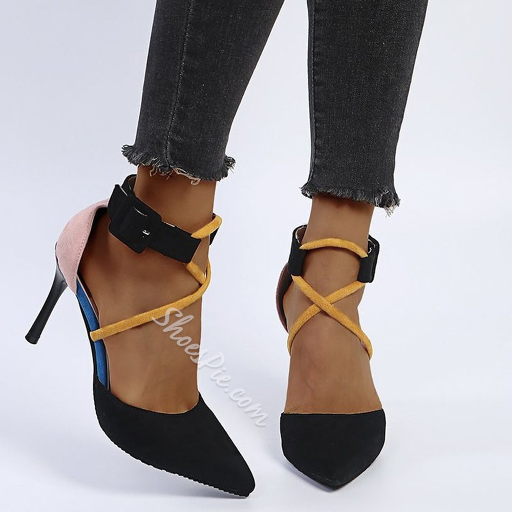 Shoespie Stylish Buckle Pointed Toe Buckle Color Block Thin Shoes