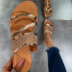 Shoespie Sexy Rhinestone Flat With Slip-On Summer Slippers