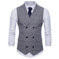 Plaid Double-Breasted Casual Waistcoat