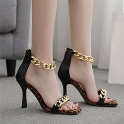 Shoespie Sexy Zipper Chunky Heel Round Toe Color Block Sandals