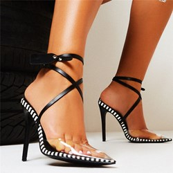 Shoespie Sexy Pointed Toe Chunky Heel Buckle Low-Cut Upper Sandals