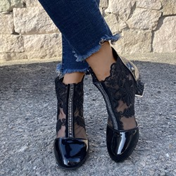 Shoespie Sexy Back Zip Round Toe Floral Embroidery Boots