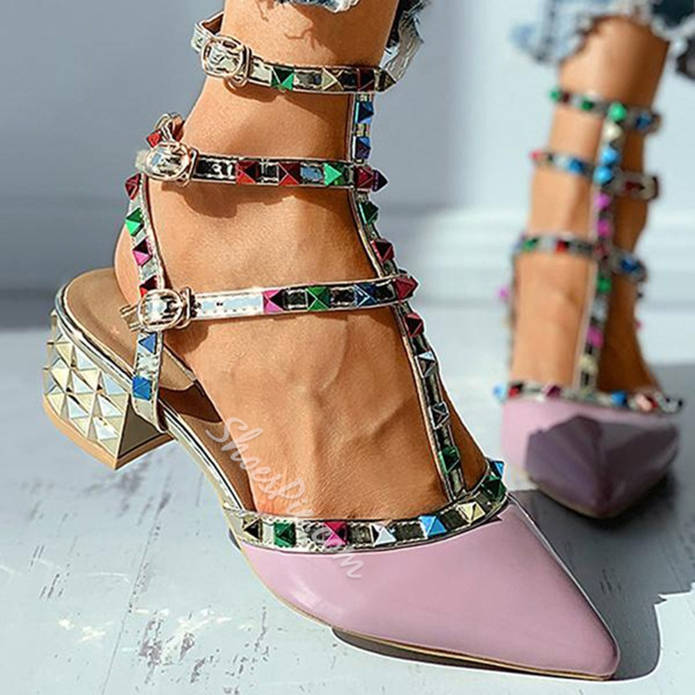 Shoespie Stylish Pointed Toe Buckle Chunky Heel Buckle Sandals