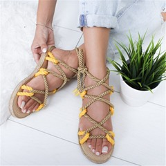 Shoespie Trendy Flat With Round Toe Lace-Up Woven Sandals