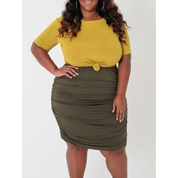 Plain Skirt Office Lady Round Neck Women's Two Piece Sets