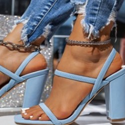 Shoespie Sexy Chunky Heel Square Toe Elastic Band Plain Sandals