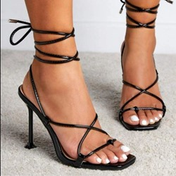 Shoespie Sexy Lace-Up Square Toe Western Sandals