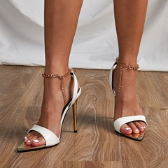 Shoespie Sexy Stiletto Heel Pointed Toe Buckle Chain Western Sandals