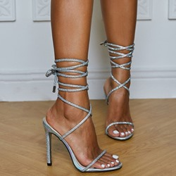 Shoespie Trendy Lace-Up Pointed Toe Stiletto Heel Cross Strap Sandals