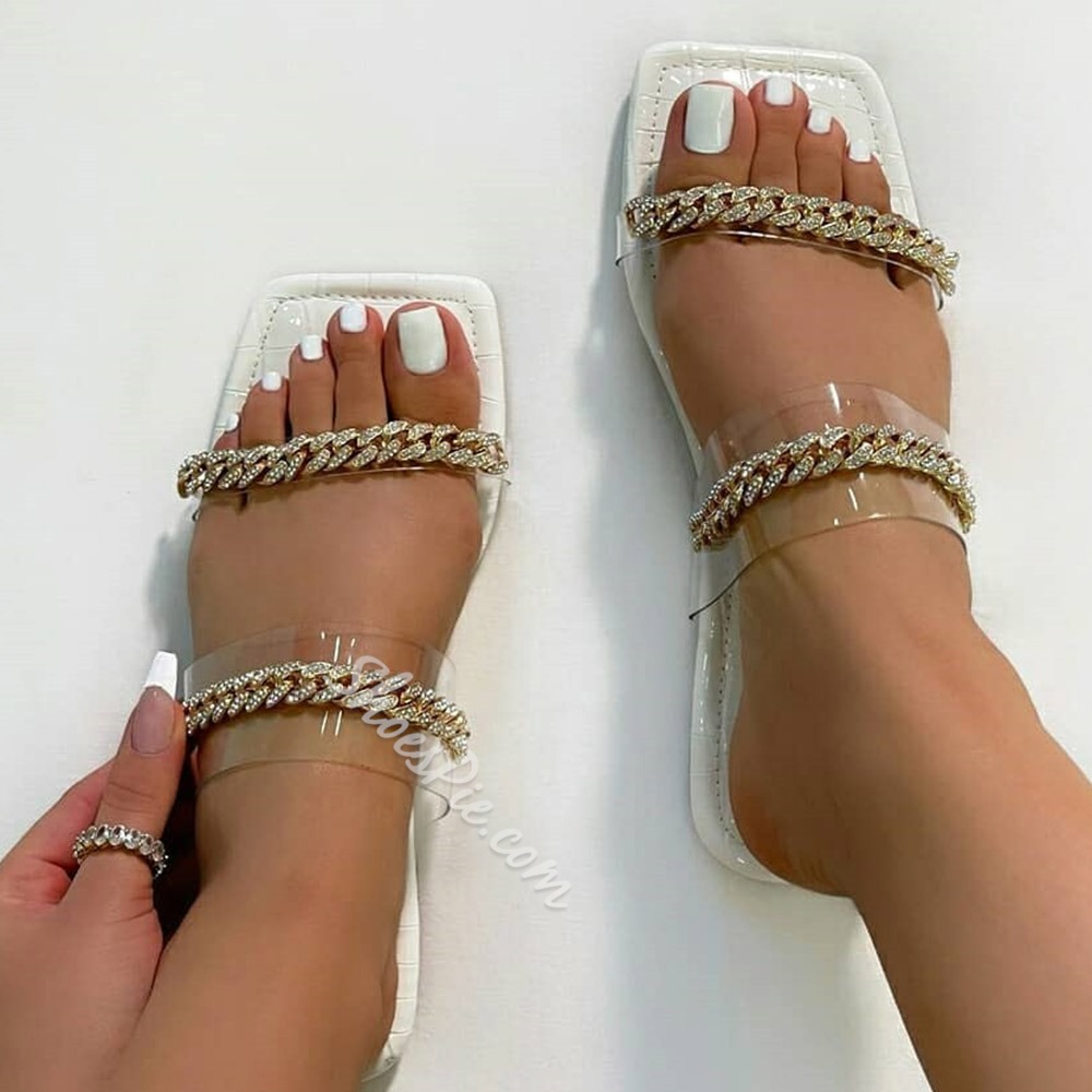 Shoespie Stylish Chain Flip Flop Flat With England Slippers
