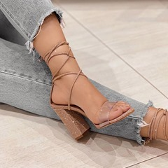 Shoespie Sexy Chunky Heel Open Toe Lace-Up Plain Sandals
