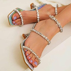 Shoespie Stylish Square Toe Stiletto Heel Buckle Sweet Sandals