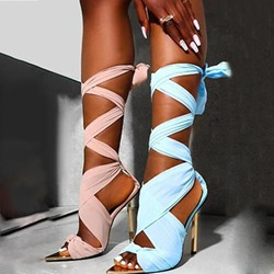 Shoespie Stylish Lace-Up Pointed Toe Patchwork Sandals