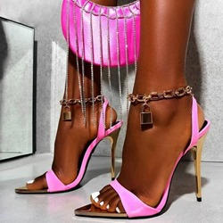 Shoespie Stylish Stiletto Heel Pointed Toe Buckle Patchwork Sandals