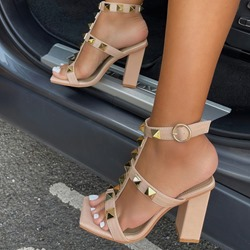 Shoespie Sexy Chunky Heel Square Toe Buckle Patchwork Sandals
