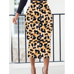 Print Mid-Calf Pencil Skirt Fashion Women's Skirt