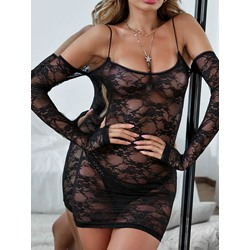 Floral Lace One-Piece Tight Wrap Above Knee Long Sleeve Dresses
