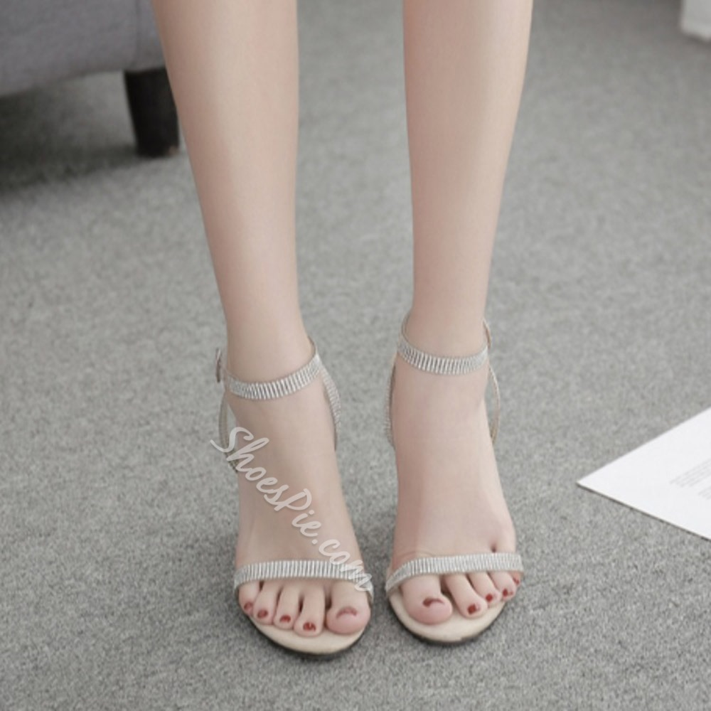 Shoespie Sexy Buckle Round Toe Chunky Heel Buckle Sandals