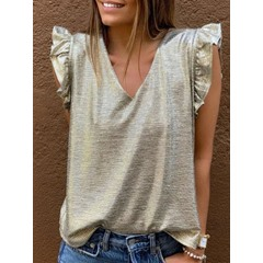 Plain V-Neck Short Sleeve Summer Women's T-Shirt