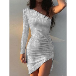 Oblique Collar Asymmetric Long Sleeve Fall Women's Dress