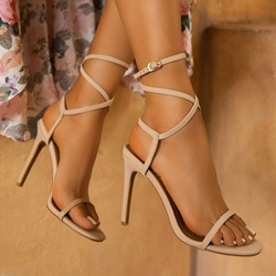Shoespie Trendy Strappy Stiletto Heel Round Toe Plain Sandals