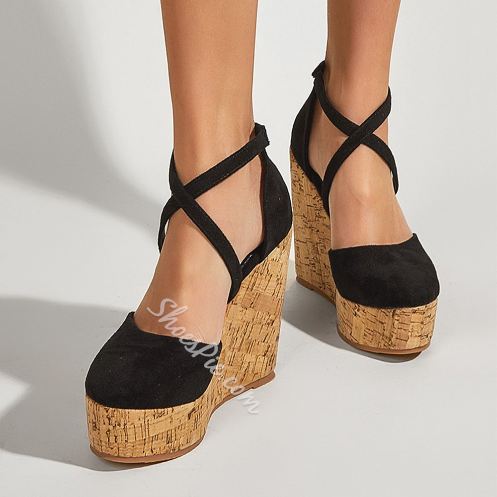Shoespie Trendy Round Toe Buckle Wedge Heel Patchwork Thin Shoes