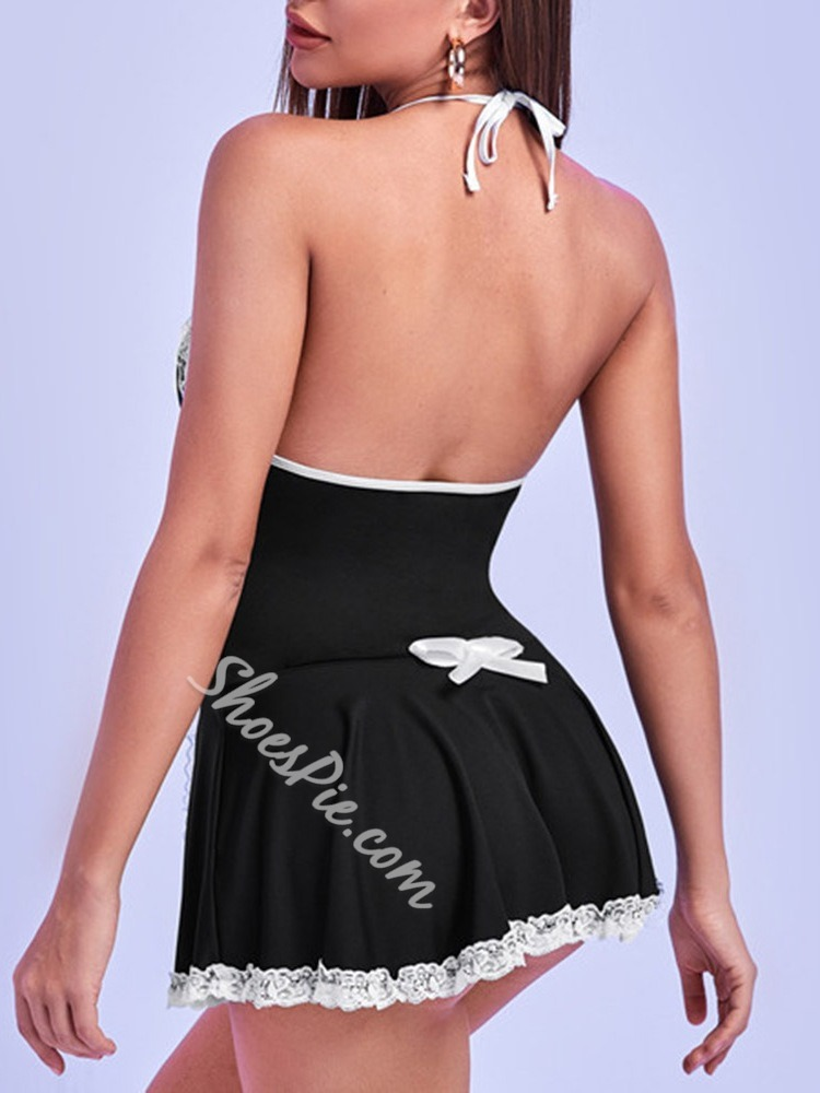 Lace Color Block Nylon French Maid Costume Sleeveless Sexy Costumes