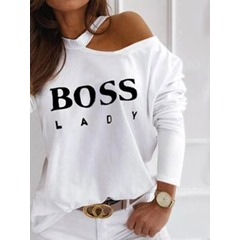 Long Sleeve Standard Letter Fashion Women's T-Shirt