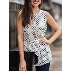 Lace-Up Polka Dots Round Neck Sleeveless Women's Blouse