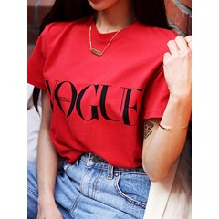Standard Short Sleeve Letter Slim Women's T-Shirt