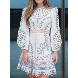 Above Knee Long Sleeve Pullover Women's Dress