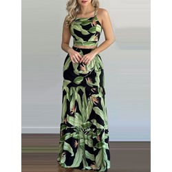 Western Backless Plant Pullover Women's Two Piece Sets
