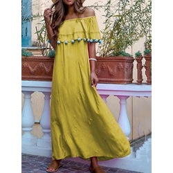 Half Sleeve Floor-Length Off Shoulder Expansion Women's Dress