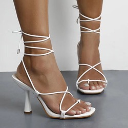 Shoespie Stylish Stiletto Heel Lace-Up Square Toe Plain Sandals