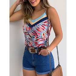 Polyester Summer Spaghetti Straps Backless Women's Tank Top