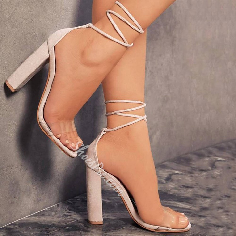 Shoespie Sexy Lace-Up Chunky Heel Open Toe Low-Cut Upper Sandals