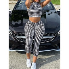 Houndstooth Fashion Vest Pullover Women's Two Piece Sets